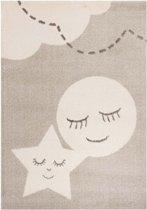 Kindervloerkleed ster en maan - crème 120x170 cm