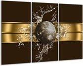 Canvas schilderij Modern   Goud, Zwart, Bruin   120x80cm 3Luik