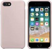 Luxe siliconen hoesje - zand roze - voor Apple iPhone 7 en iPhone 8 - rozenkwarts - suède binnenkant