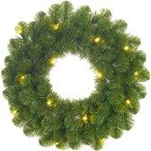 Black Box Norton Kerstkrans - 60 cm - groen - 30 lampjes warmwit led op batterij