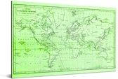 Groen-getinte wereldkaart met strakke magnetic curves Aluminium 120x80 cm