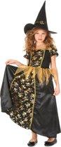Zwart gouden heksen kostuum voor meisjes - Verkleedkleding - 116/122