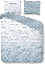 Good Morning 5685-A Driehoekspatroon - dekbedovertrek - tweepersoons - 200x200/220 cm  - 100% katoen - grij