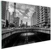 Sao Paulo zwart-wit Glas 120x80 cm - Foto print op Glas (Plexiglas wanddecoratie)