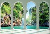 Fotobehang Tropical Paradise Arches | XXXL - 416cm x 254cm | 130g/m2 Vlies