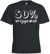 Mijncadeautje T-shirt - 50% vrijgezel - Unisex Zwart (maat XL)