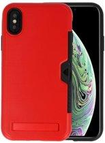 Rood Tough Armor Kaarthouder Stand Hoesje voor iPhone X / XS