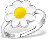 Little Bijoux verstelbare kinderring-witte bloem met geel hart