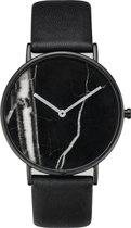 Marmer Horloge Zwart-Zwart | Marble Watch | Kunstleder | Fashion Favorite