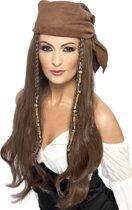 Lange donkerblonde piratenpruik voor vrouwen - Verkleedpruik - One size