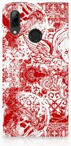 Huawei P Smart (2019) Standcase Hoesje Design Angel Skull Red