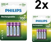 8 Stuks (2 blisters a 4st) - Philips MultiLife 1.2V AAA/HR03 950mah NiMh oplaadbare batterij