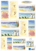 Hobby wenskaartenpakket - Marianne Design decoupage x1 Tiny's beach 4 - 10 stuk