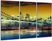 Canvas schilderij Steden | Geel, Blauw, Groen | 120x80cm 3Luik