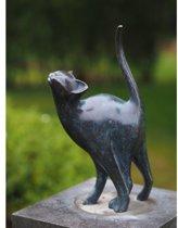 Beeld - Tuinbeeld - brons - beeld Kat Poes - Bronzartes - 31 cm hoog