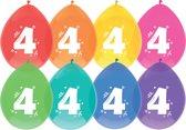 leeftijd ballonnen - 4 -  8x diverse kleuren
