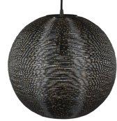 relaxdays hanglamp gevlochten - plafondlamp zwart - een lichts - bolvormige hangende lamp