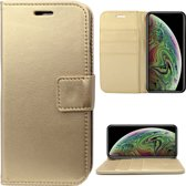 Lederen Hoesje Wallet voor Apple iPhone Xs / X Goud - Book Case Cover van iCall