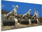 Panorama van de Leeuwen van Delos Plexiglas 40x20 cm - Foto print op Glas (Plexiglas wanddecoratie)