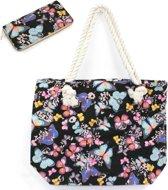 Hazel & Pip VLINDERS Patroon Canvas Strandtas Shopper met bijpassende Portemonnee Vlinder Zwart