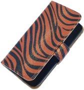 Donker Bruin Zebra booktype wallet cover hoesje voor HTC One S
