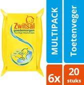 Zwitsal Goedemorgen Vochtige Washandjes - 6 x 20 stuks - Voordeelverpakking