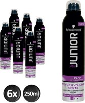 Schwarzkopf Junior Power Styling Volume Spray L2 250 ml - 6 stuks - Voordeelverpakking