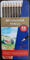 Aquarelpotloden - Aquacolor - Watercolour - potloden - voor kinderen en volwassenen - 10 stuks - met metalen opbergblik - Aquarelpotlood