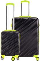 Decent Lumi-Fix - ABS kofferset - 2 delig - zwart/limegroen