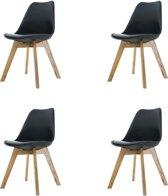 Madera stoel - Zwarte zitting - Houten onderstel - Set van 4