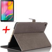 Samsung Galaxy Tab A 10.1 (2019) Hoes + Screenprotector - Lederen Book Case Smart Cover - iCall - Taupe