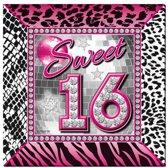 Sweet 16 servetten 20 stuks - 16 jaar wegwerpservetten