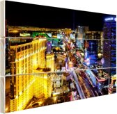 Skyline Las Vegas in de nacht Hout 160x120 cm - Foto print op Hout (Wanddecoratie) XXL / Groot formaat!