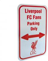 Liverpool FC - Plaat - Fans Parking Only - Wit/Rood - 17 x 27 cm