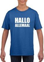 Hallo allemaal tekst blauw t-shirt voor kinderen M (134-140)