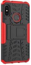 Teleplus Xiaomi Mi Max 3 Dazzle Armor Stand Tank Cover Case Red + Nano Screen Protector hoesje