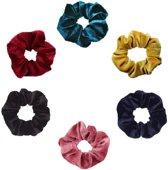 Set van 6 scrunchies in de kleuren - Groen - Geel - Navy Blauw - Roze - Zwart - Rood