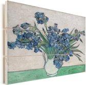 Vaas met Irissen - Schilderij van Vincent van Gogh Vurenhout met planken 40x30 cm - klein - Foto print op Hout (Wanddecoratie)