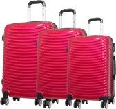 3 delig kofferset Bunker 100% polycarbonaat rood 46-56-66cm