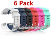 6-Pack Bandje Large Voor de Fitbit Charge 2 - Siliconen Armband / Polsband / Strap Band / Sportband - Zwart/Wit/Roze/Rood/Blauw/Groen