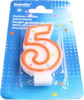 Amscan Verjaardagskaarsje Cijfer 5 Oranje