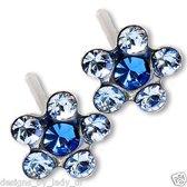 Stalen kinderoorbellen  blauwe bloem