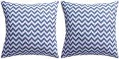 Buitenkussens met zigzag print 45x45 cm marineblauw 2 st