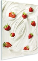 Yoghurt met lekkere aardbeien Plexiglas 40x60 cm - Foto print op Glas (Plexiglas wanddecoratie)