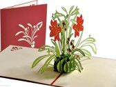 Popcards popupkaarten - Bloemencompositie in lichtgroen en rood bloemen gefeliciteerd,  pop-up kaart
