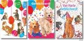 3x dubbele A4 kaart met envelop - Francien - Hiep hiep hoera -  Gefeliciteerd - Katten - Honden - Formaat: 210 x 297mm