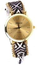 Geneva Ibiza Horloge - Simply Black | Fashion Favorite | Gevlochten Bandje