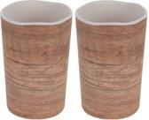 2x Melamine drinkbekers/mokken houtprint 11 cm - Campingservies/picknickservies