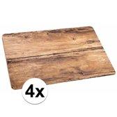 Placemats met eiken hout opdruk - 4 stuks - kunststof - 44 x 28 cm