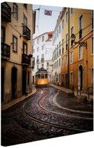 Kleine straatjes Lissabon Canvas 60x80 cm - Foto print op Canvas schilderij (Wanddecoratie woonkamer / slaapkamer) / Steden Canvas Schilderijen